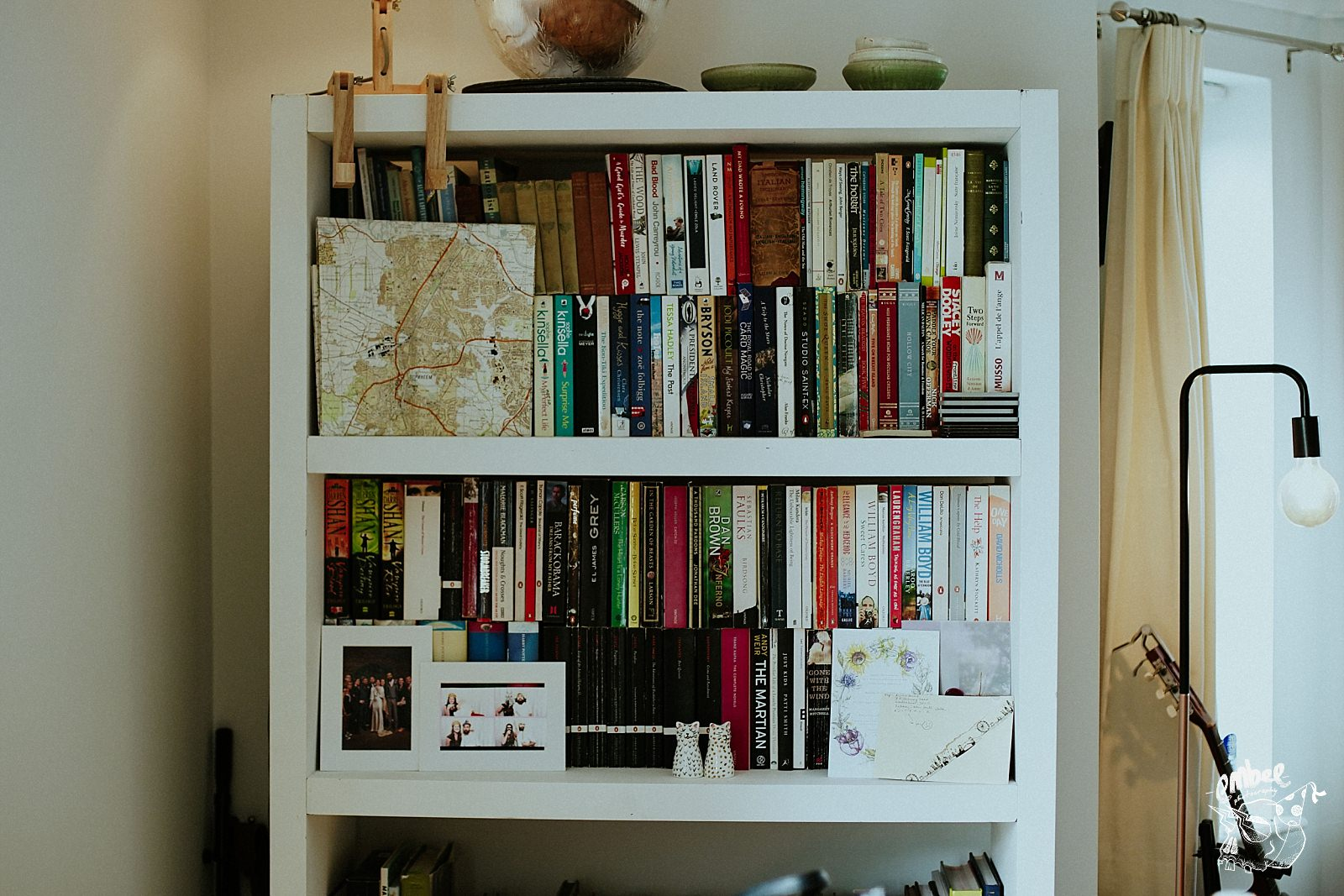 book shelf at brides house