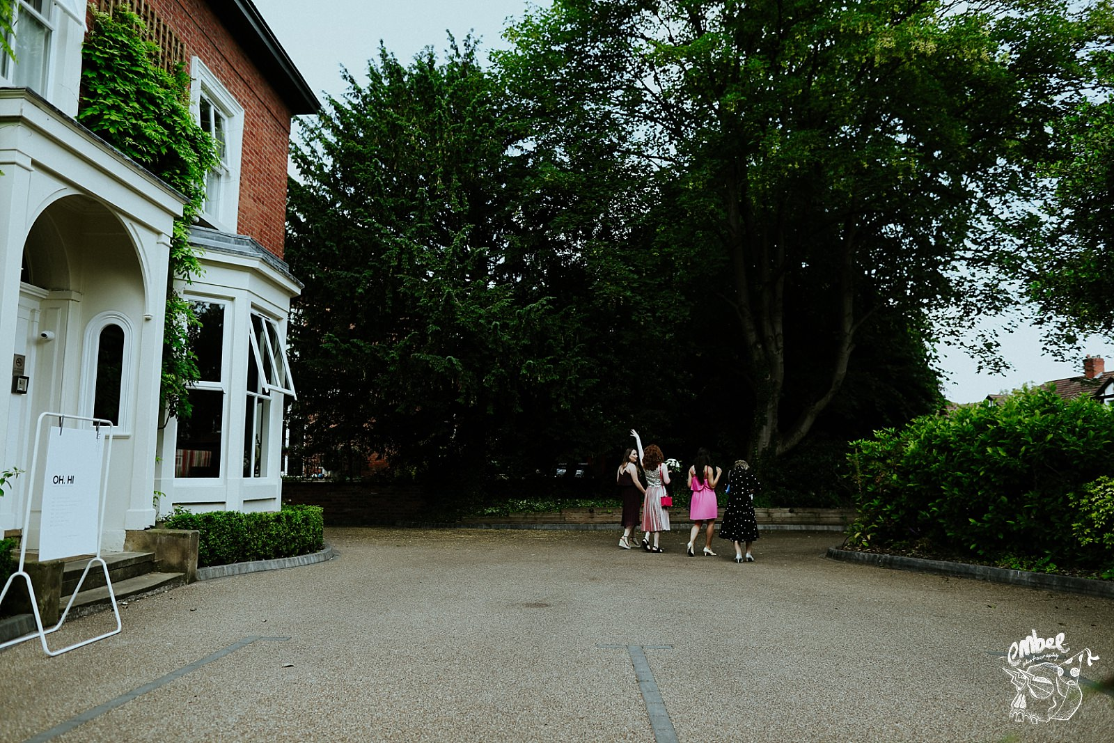 wedding party walk off to didbury house hotel