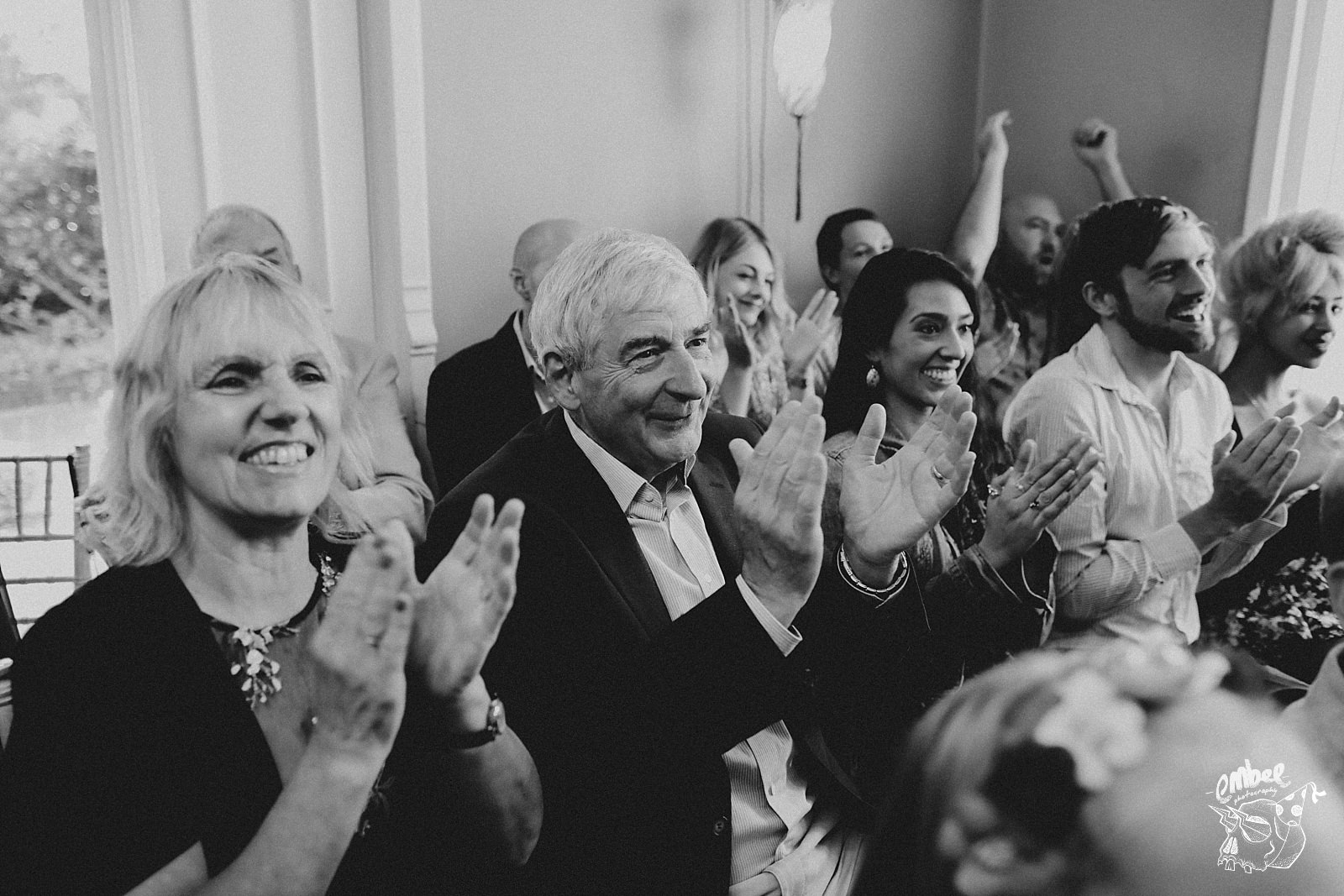 wedding guests clap