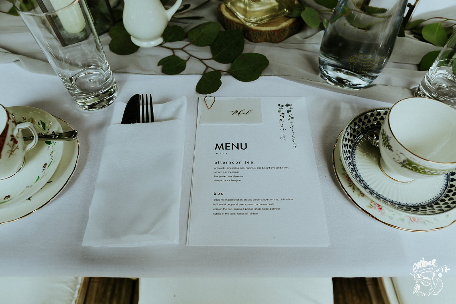 wedding menus on table