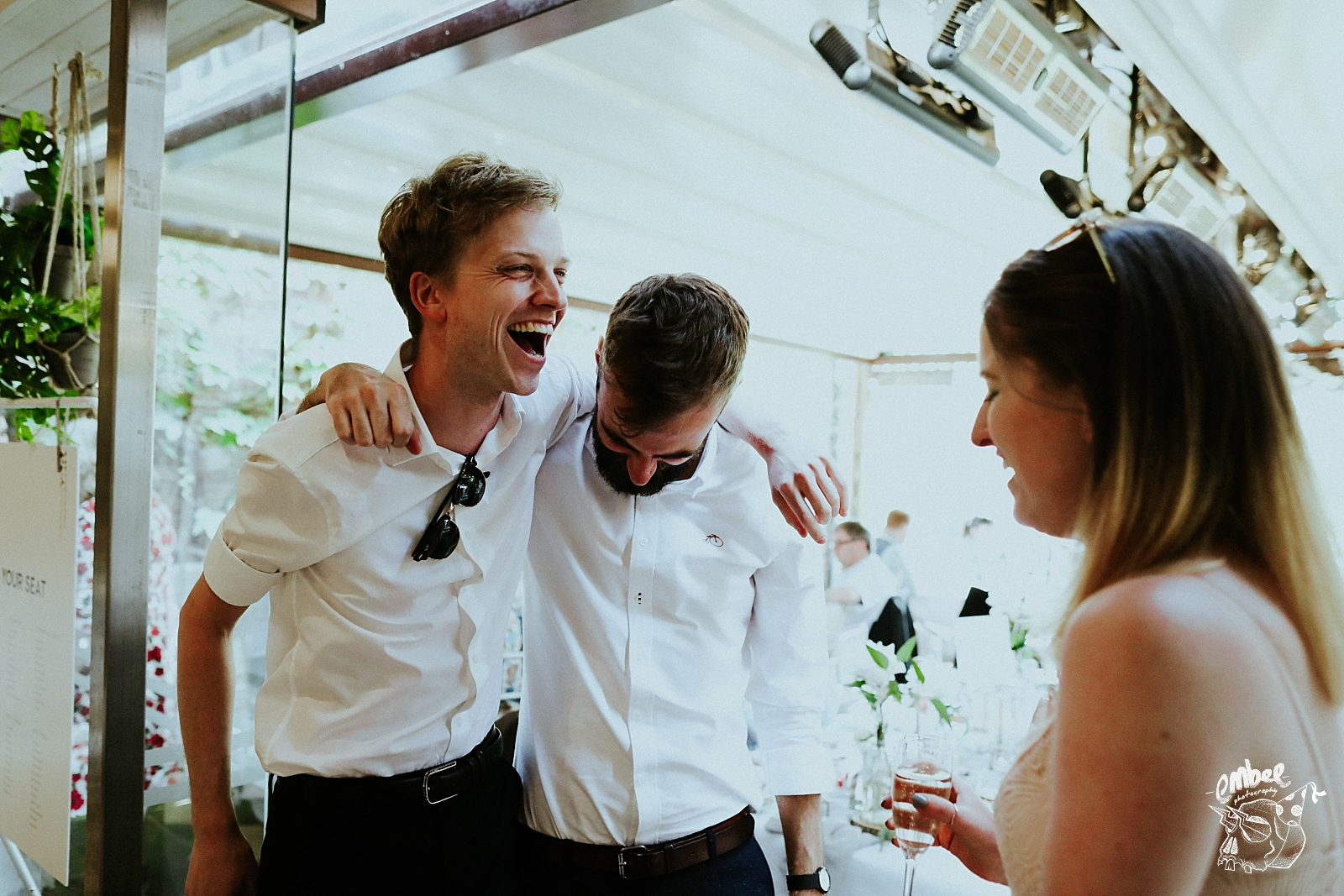 groom withs mates having a laugh
